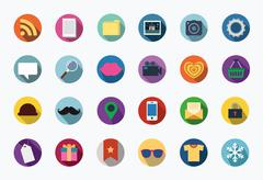 Trendy Vector Flat Icons With Long Shadow Stock Illustration