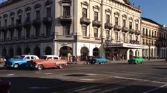 Classic cars downtown Havana, Cuba Stock Footage