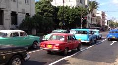 Old classic car taxis in Havana, Cuba Stock Footage