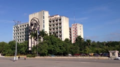 Che Guevara at the Revolution square, Plaza de la Revolución in Havana, Cuba Stock Footage