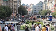 Prague, Czech Republic. Summer at the Wenceslas Square. Stock Footage