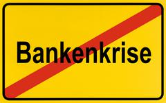 Sign city limits, symbolic image for the end of the banking crisis Kuvituskuvat