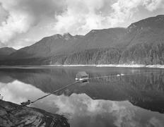 Scenic view of Capilano Lake with mountains in background, Cleveland Dam, Stock Photos