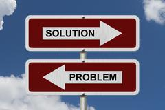 Solution versus problem Stock Illustration