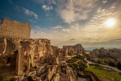 ruins in les baux-de-provence, france - stock photo