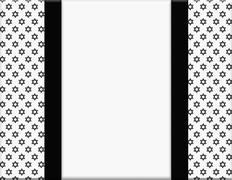 Black and white star of david patterned frame with ribbon background Stock Illustration