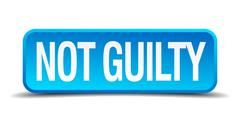 Not guilty blue 3d realistic square isolated button Stock Illustration