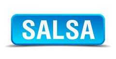 Salsa blue 3d realistic square isolated button Stock Illustration