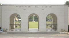 Kanchanaburi War Cemetery Gates Stock Footage