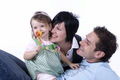 Parents, 30 +, and daughter, 2 Stock Photos