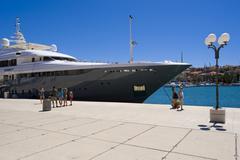 waterfront promenade of trogir, northern dalmatia, croatia, europe - stock photo