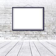 Blank horizontal painting poster in black frame Stock Illustration