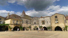 Town square - Monpazier France - HD 4k+ Stock Footage