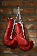 Red boxing gloves hanging on a brick wall Kuvituskuvat