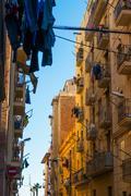 beautiful streets of barceloneta neighbourhood in barcelona - stock photo
