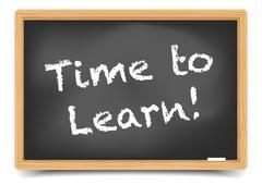 blackboard time to learn - stock illustration