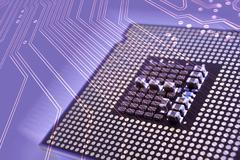 Computer processor and circuit board Stock Photos