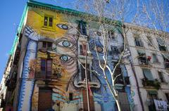 barcelona - march 10: street art in el raval district, on march 10, 2013 in b - stock photo