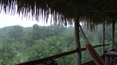 Amazon rain from jungle lodge  Stock Footage