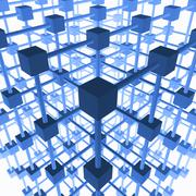 Three-dimensional grid structure made of blue cubes and rods, 3d illustration Stock Illustration