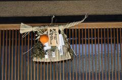 Shimenawa, straw rope hung over the entrance door at the new year\'s festival Kuvituskuvat