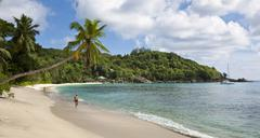 Stock Photo of isolated bay near baie lazare, che batista villas in the back, mahe island, s