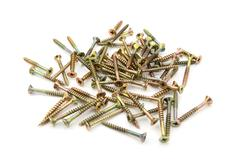 brass self-tapping screws - stock photo