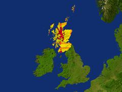 Satellite image of scotland with royal lion rampant flag covering it Piirros