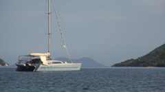 Holiday trip with a sailboat on Ionian Islands. Stock Footage