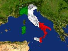 satellite image of italy with the country\'s flag covering it - stock illustration