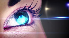 Eye changing colours with lights Stock Footage