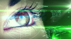 Eye looking at futuristic interface showing text - stock footage