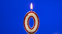 Number 0 - zero birthday candle burning - blow out at the end Stock Footage