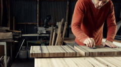 Carpenter Staining Wood Stock Footage