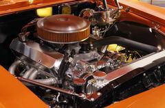 Custom muscle car engine, close-up Kuvituskuvat