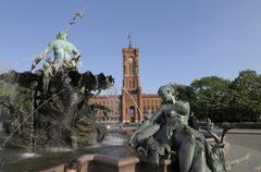 rotes rathaus, red town hall, with neptunbrunnen fountain, berlin, germany, e - stock photo