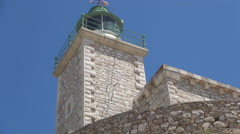 AGIA MAVRA. Moorish fortress. Lighthouse built on the wall of ancient fortress. Stock Footage