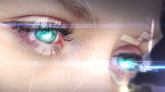 Eyes looking at holographic interface Stock Footage