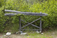 Wooden chilkoot pass, chilkoot trail sign, bennett city, klondike gold rush,  Stock Photos