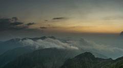 Fagaras Serbota ridges sunset clouds HD Stock Footage