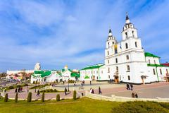the cathedral of holy spirit - symbol of minsk, belarus - stock photo