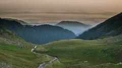 Fagaras Negoiu mountain hut morning 4K Stock Footage