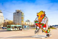 Volat, the official mascot of the 2014 iihf world championship, outdoor in mi Stock Photos