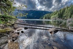 glacial black lake surrounded by the forest - stock photo