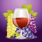 Glass of red wine and cluster of vine Stock Illustration