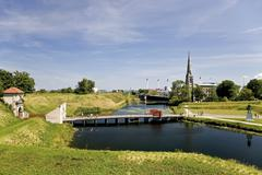 View from kastellet citadel towards the entrance and st. alban church in cope Stock Photos