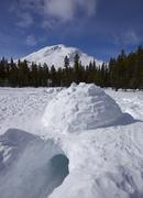 igloo with low entrance, log cabin, white pass, chilkoot pass, chilkoot trail - stock photo