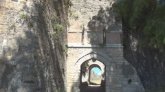 AGIA MAVRA. Entry in Moorish fortress with trace of state symbols above them. Stock Footage