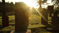 Cemetary Sunset Lense Flare Time Lapse - stock footage