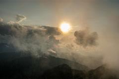 Fagarash mountain ridges sunset fog 6K Stock Footage